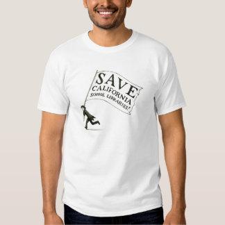 Salvar a mercadoria das bibliotecas escolares de camisetas