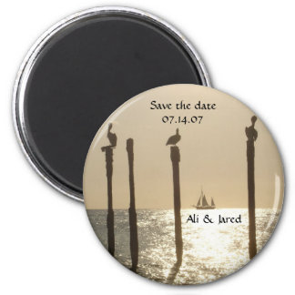 Salvar a praia do ímã da data/casamento do destino ímã redondo 5.08cm