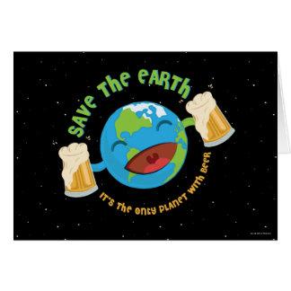 Salvar a terra cartão comemorativo
