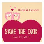 Salvar as corujas da data 2 em um coração convites personalizado