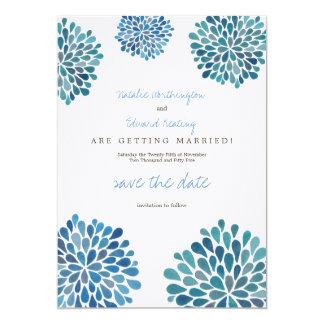 Salvar as dálias azuis de linho da aguarela da convite 12.7 x 17.78cm