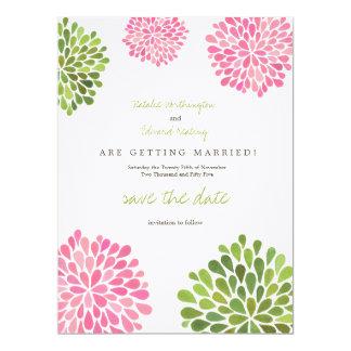 Salvar as flores cor-de-rosa da data & verdes de