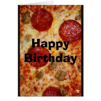Salvar me um bolo da pizza! Cartão de aniversário