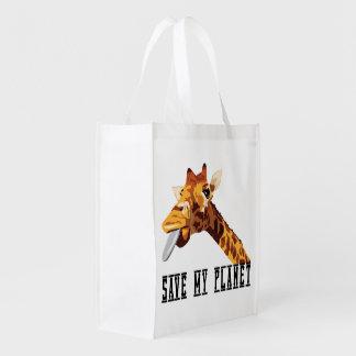 Salvar meu girafa do planeta sacola ecológica