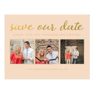 Salvar nossa foto da tipografia do roteiro do ouro cartão postal