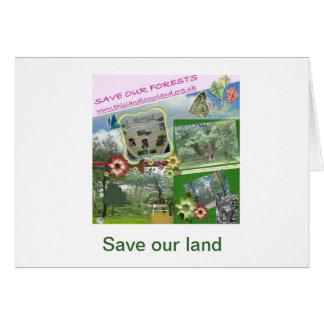 Salvar nossas florestas param a venda fora cartão de nota