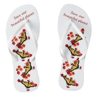 Salvar nossos chinelos das flores do vermelho da