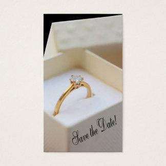 Salvar o anel de noivado da data na caixa cartão de visitas