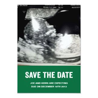 Salvar o anúncio da gravidez da data convite 12.7 x 17.78cm