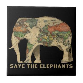 Salvar o azulejo cerâmico da foto dos elefantes