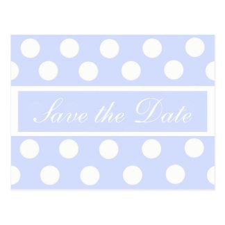 Salvar o cartão azul da foto das bolinhas da data cartão postal