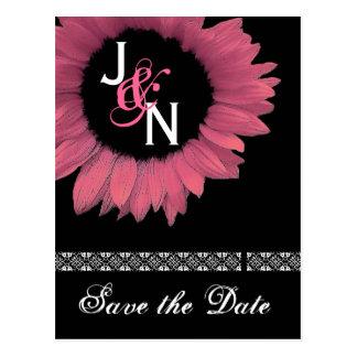 Salvar o cartão da data - girassol cor-de-rosa