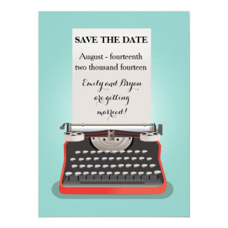Salvar o cartão da data - máquina de escrever do convite 13.97 x 19.05cm