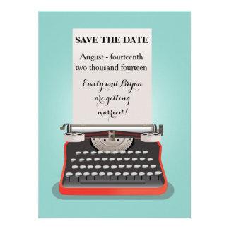 Salvar o cartão da data - máquina de escrever do v convite personalizado