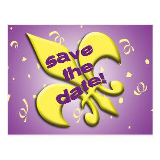 Salvar o cartão da flor de lis da data