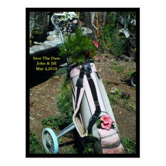Salvar o cartão da flor do carro de golfe do
