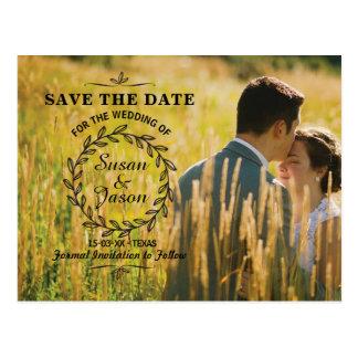Salvar o cartão de casamento rústico da foto do