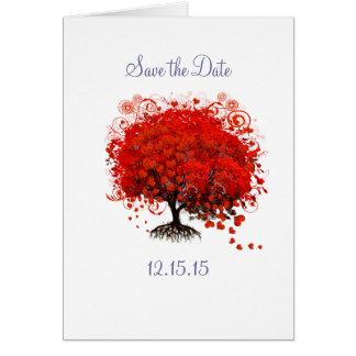Salvar o cartão de casamento vermelho da árvore da