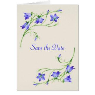 Salvar o cartão de data com flores do bluebell