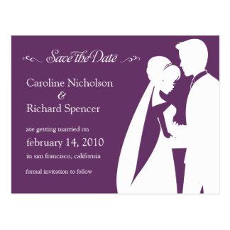 Salvar o cartão do casamento da ameixa da noiva &