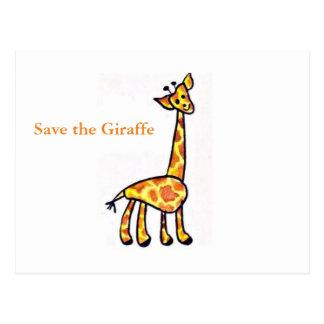 Salvar o cartão do exemplo do girafa cartão postal