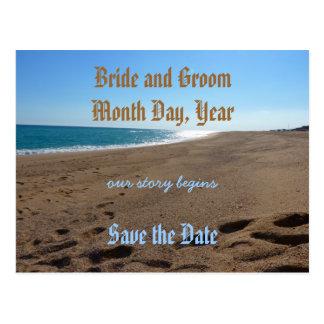 Salvar o cartão do tema da praia da data