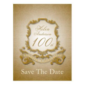 Salvar o cartão personalizado 100th aniversário da