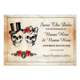 Salvar o cartão rústico dos rosas dos crânios da convite 8.89 x 12.7cm