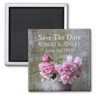 Salvar o casamento da data ímã quadrado