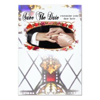 Salvar o casamento da igreja da data convite 8.89 x 12.7cm
