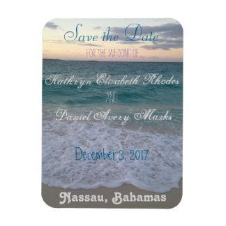 Salvar o casamento de praia da data foto com ímã retangular