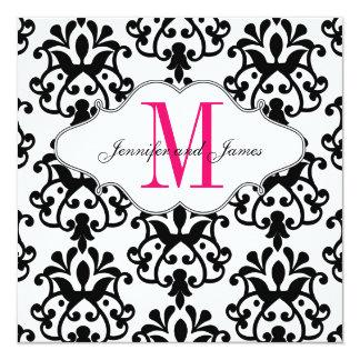 Salvar o casamento moderno do rosa quente do convite quadrado 13.35 x 13.35cm