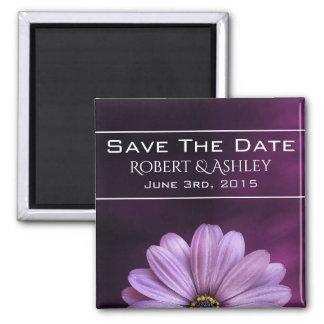 Salvar o casamento roxo da flor da data ímã quadrado