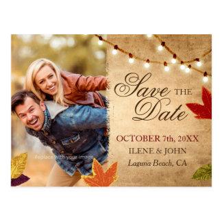 Salvar o casamento rústico do outono dos cartão |