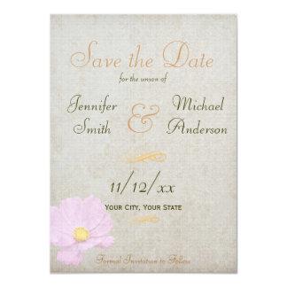 Salvar o casamento simples do papel do vintage da convite 11.30 x 15.87cm