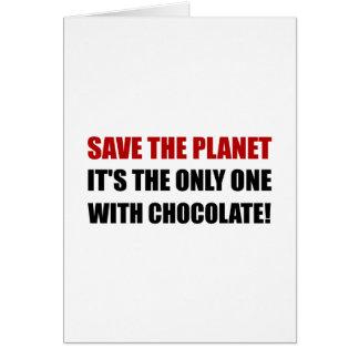 Salvar o chocolate do planeta cartão