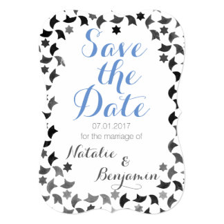 Salvar o cinza branco azul do convite | do mosaico