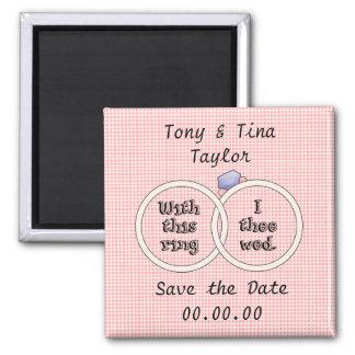 Salvar o ímã cor-de-rosa das alianças de casamento ímã quadrado
