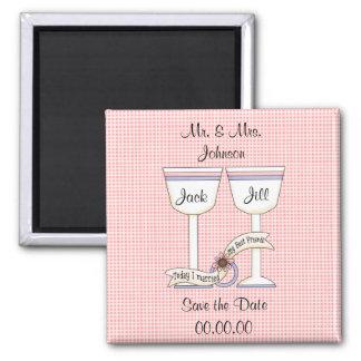 Salvar o ímã cor-de-rosa Wedding dos vidros da dat Ímã Quadrado