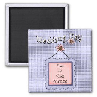 Salvar o ímã do azul do dia do casamento da data ímã quadrado