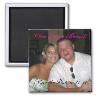 Salvar o ímã do casamento da data ímã quadrado