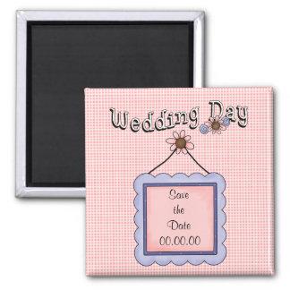 Salvar o ímã do rosa do dia do casamento da data ímã quadrado