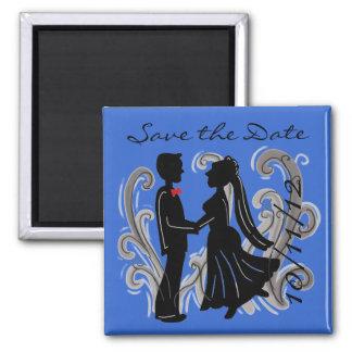 Salvar o ímã moderno do casamento da data ímã quadrado