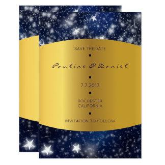 Salvar o ouro das estrelas da noite do céu da data convite 8.89 x 12.7cm