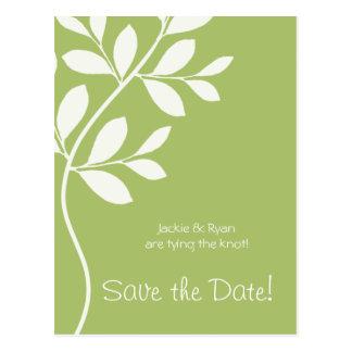 Salvar o ramo da folha do verde prudente do cartão