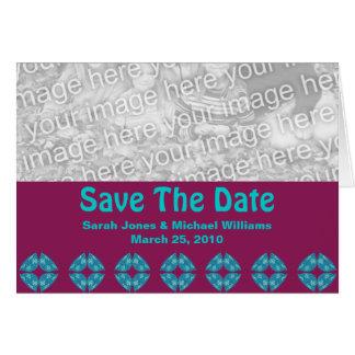 Salvar o retro groovy da data cartão comemorativo