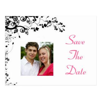 Salvar o rosa e o preto da data cartão postal
