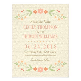 Salvar o rosa floral do país do cartão de data | convite 10.79 x 13.97cm