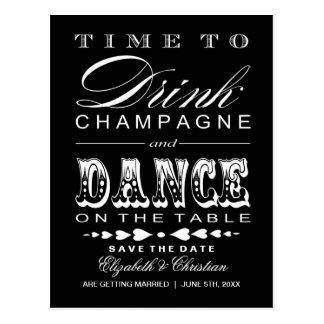 Salvar o teatro Bill do cartão ||Champagne da data Cartão Postal