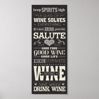 Salvar o vinho da bebida da água pôster
